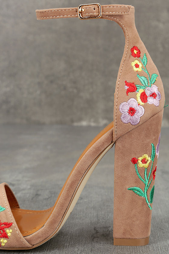 Suri Taupe Embroidered Ankle Strap Heels 7