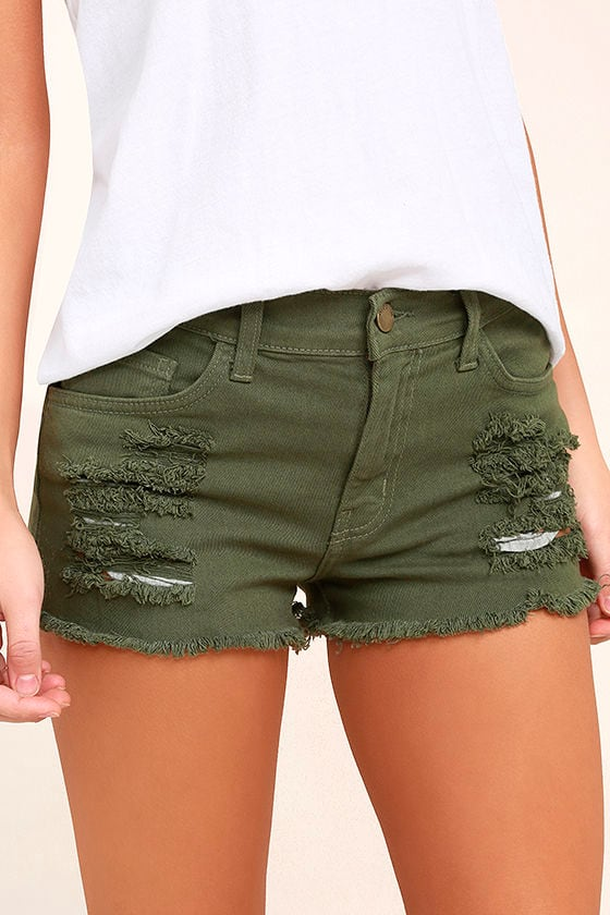Cut-Off the Map Olive Green Distressed Jean Shorts 1