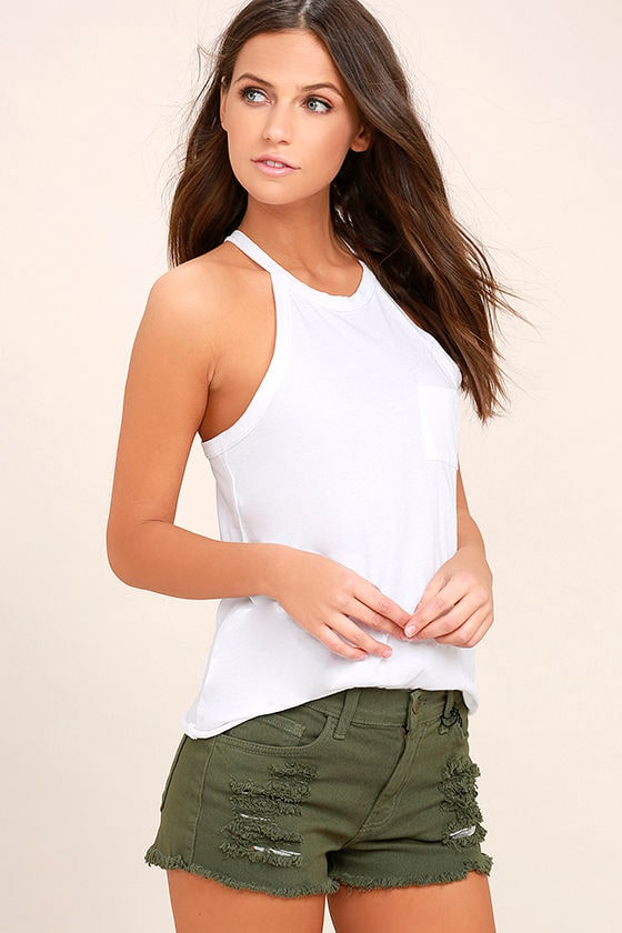Cut-Off the Map Olive Green Distressed Jean Shorts 2