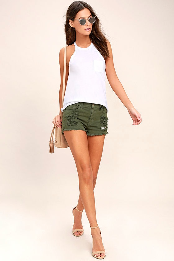 Cut-Off the Map Olive Green Distressed Jean Shorts 3