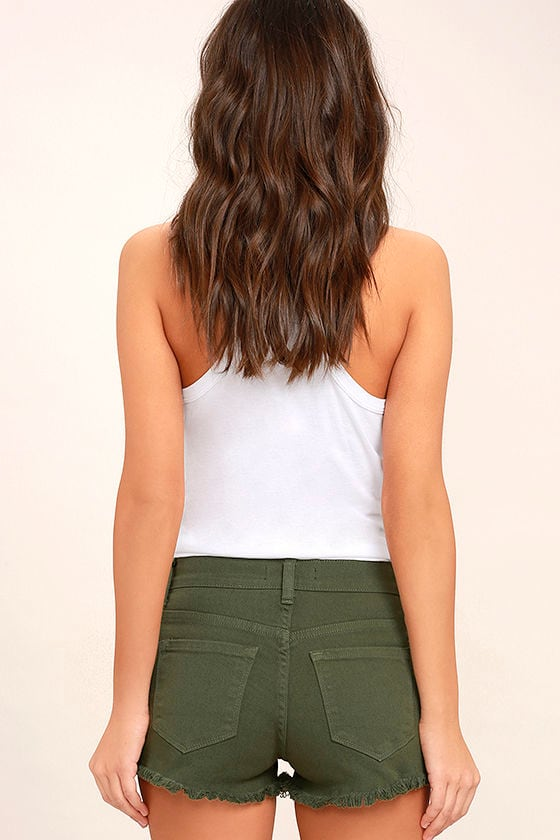 Cut-Off the Map Olive Green Distressed Jean Shorts 4