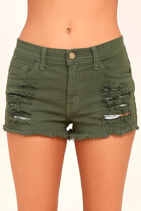 Cut-Off the Map Olive Green Distressed Jean Shorts 5