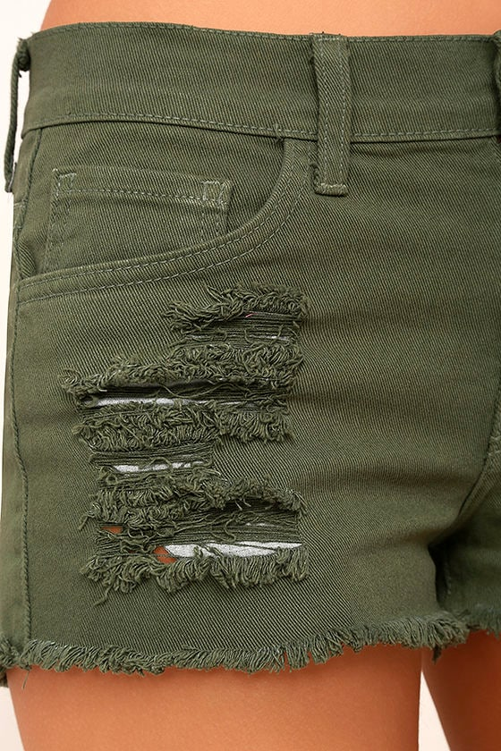 Cut-Off the Map Olive Green Distressed Jean Shorts 6