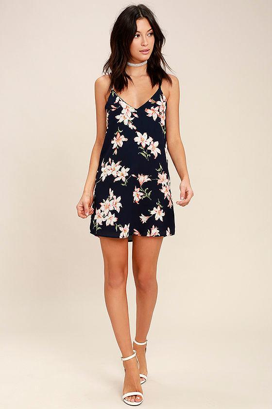 Beachcomber Navy Blue Floral Print Shift Dress 2