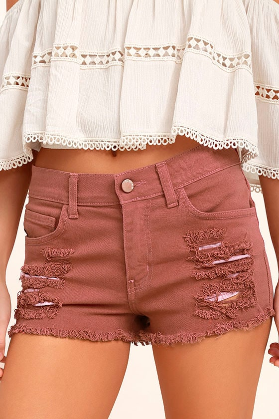 Cut-Off the Map Rusty Rose Distressed Jean Shorts 1