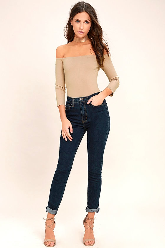 Like a Bird Taupe Off-the-Shoulder Bodysuit 2