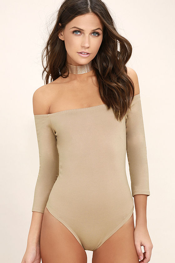 Like a Bird Taupe Off-the-Shoulder Bodysuit 3