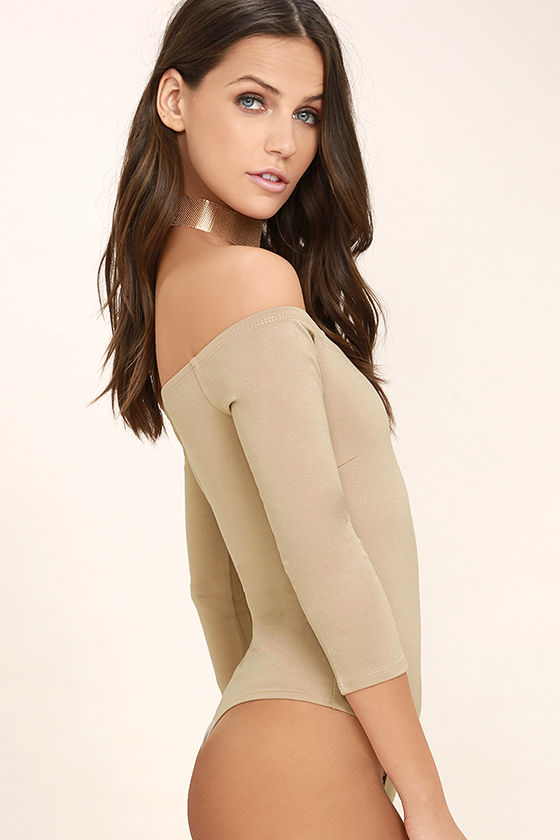 Like a Bird Taupe Off-the-Shoulder Bodysuit 4