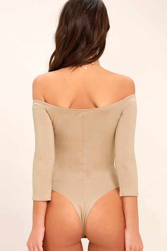 Like a Bird Taupe Off-the-Shoulder Bodysuit 5