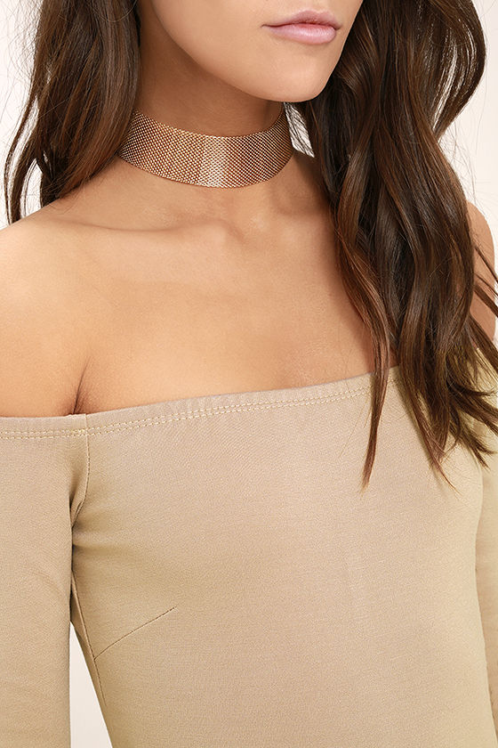 Like a Bird Taupe Off-the-Shoulder Bodysuit 6