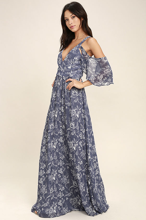 Good-Hearted Denim Blue Floral Print Maxi Dress 2