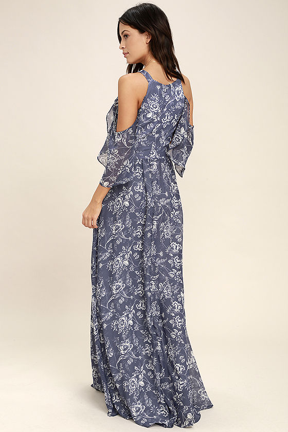 Good-Hearted Denim Blue Floral Print Maxi Dress 3