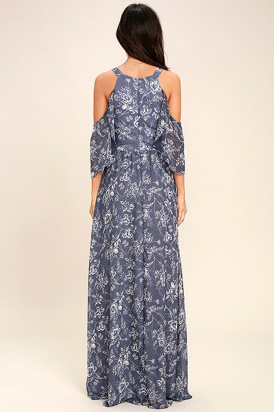 Good-Hearted Denim Blue Floral Print Maxi Dress 4