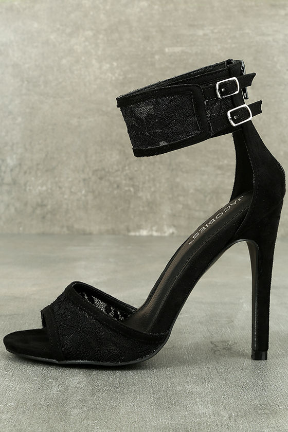 f7b0a467520b Sexy Black Heels - Black Lace Heels - Vegan Suede Heels -  36.00
