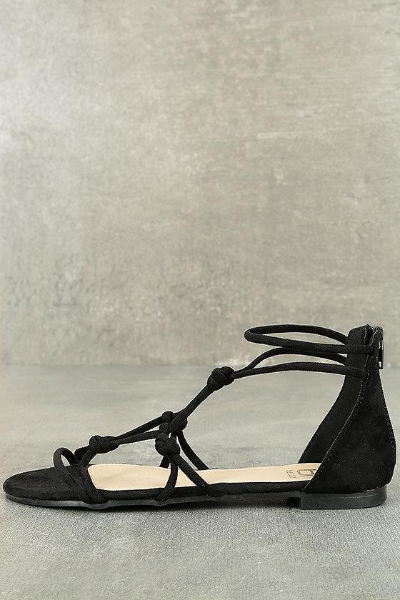 034b59671962 Cute Black Sandals - Vegan Suede Sandals - Gladiator Sandals -  22.00