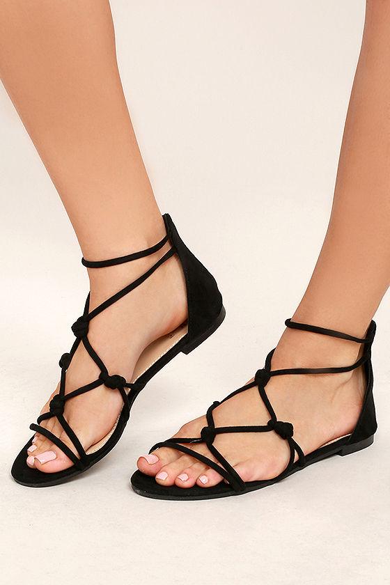 3339c86b849 Cute Black Sandals - Vegan Suede Sandals - Gladiator Sandals -  22.00