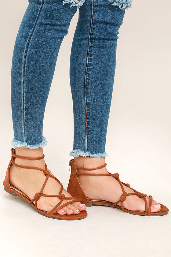 5609c0765df2 Cute Tan Sandals - Vegan Suede Sandals - Gladiator Sandals -  22.00