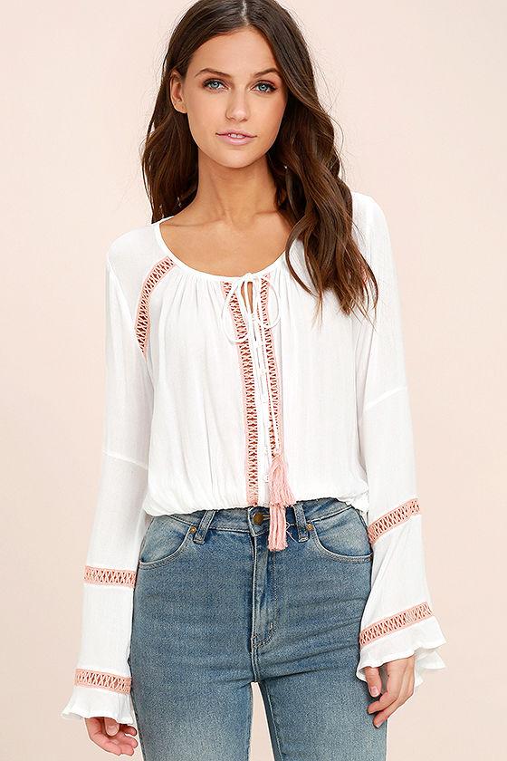 Cute White Crop Top - Long Sleeve Top - Crochet Lace Top ...