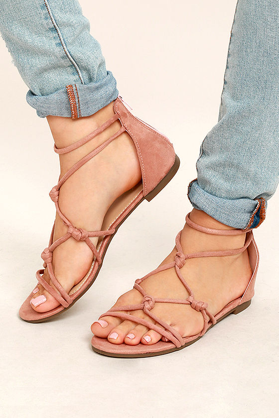 2a409d000df6 Cute Pink Sandals - Vegan Suede Sandals - Gladiator Sandals -  22.00