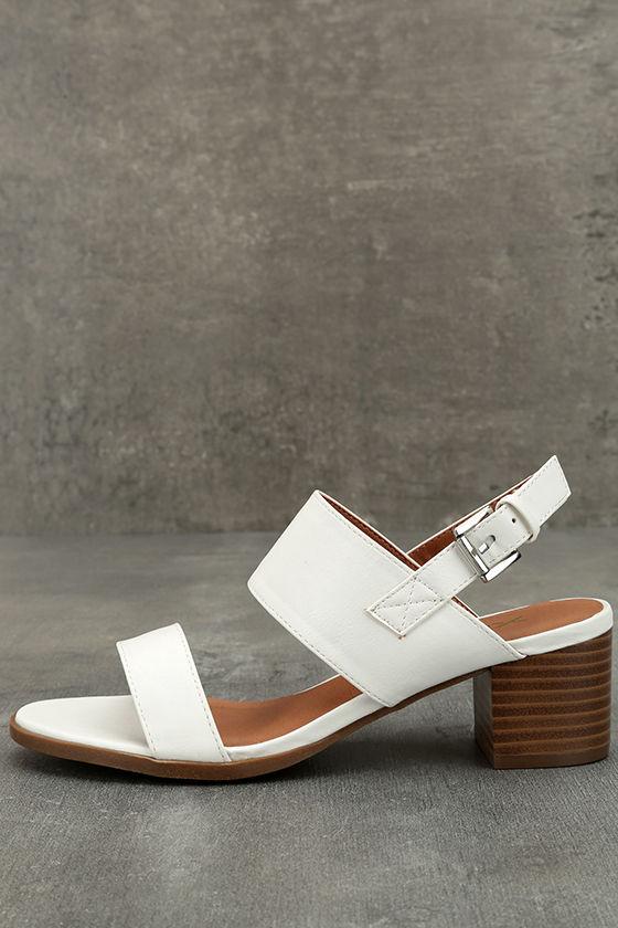f3e4e798b Cute White Sandals - Heeled Sandals - Vegan Leather Sandals -  27.00