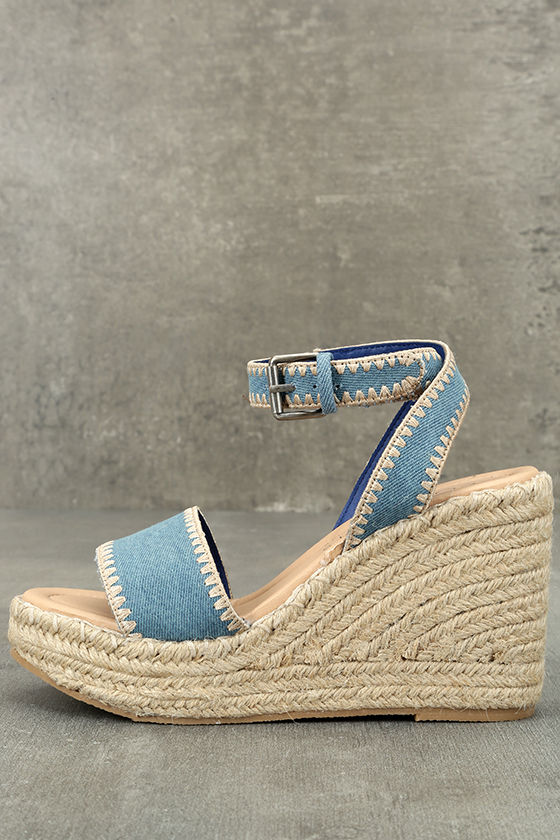 Coconuts Frenchie Light Denim Espadrille Wedges Image