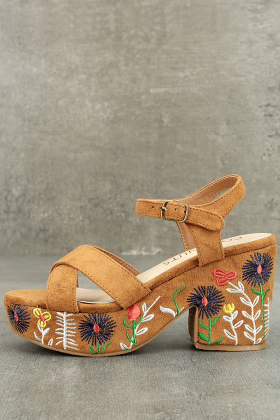 Coconuts Fresh Tan Suede Embroidered Platform Sandals 1