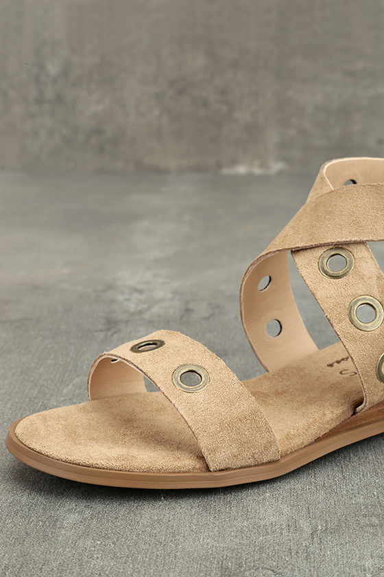 Coconuts Belize Natural Suede Wedge Sandals 6