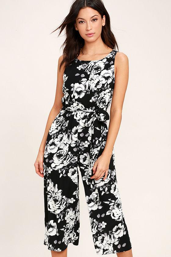 Lush Life Black and White Floral Print Midi Jumpsuit