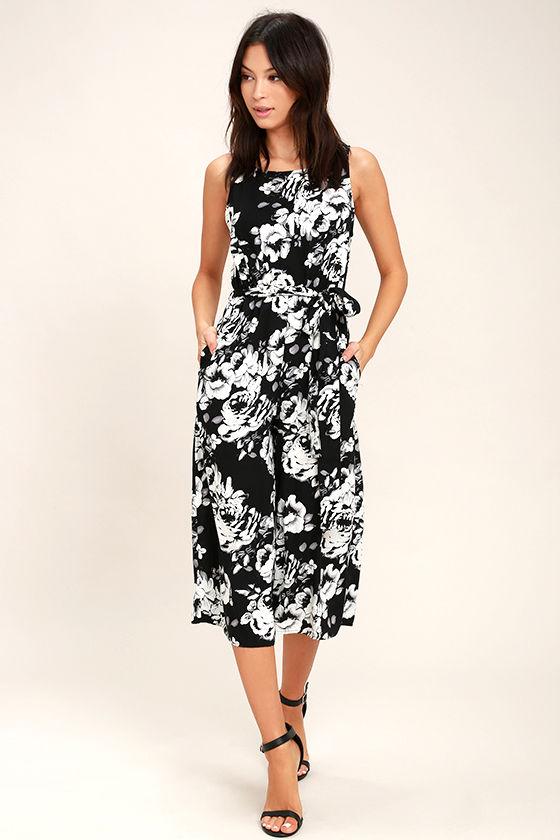Lush Life Black and White Floral Print Midi Jumpsuit 2