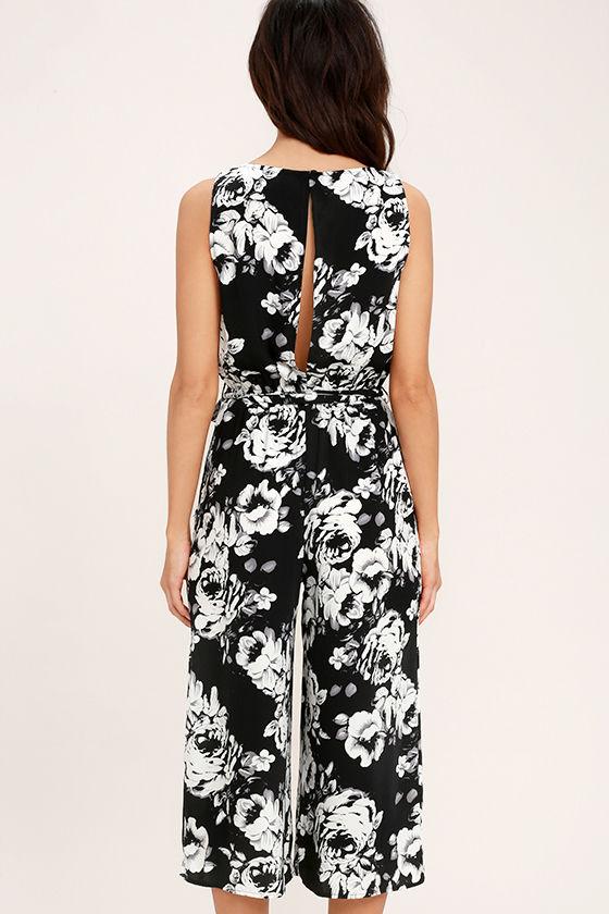 Lush Life Black and White Floral Print Midi Jumpsuit 4