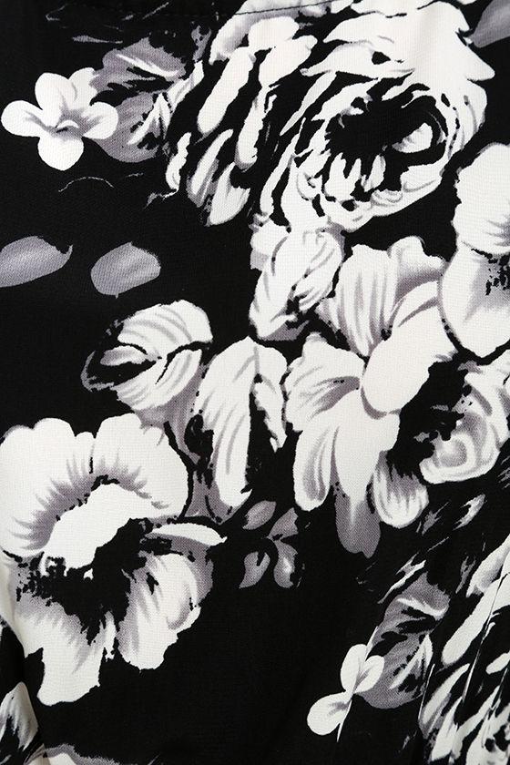 Lush Life Black and White Floral Print Midi Jumpsuit 6