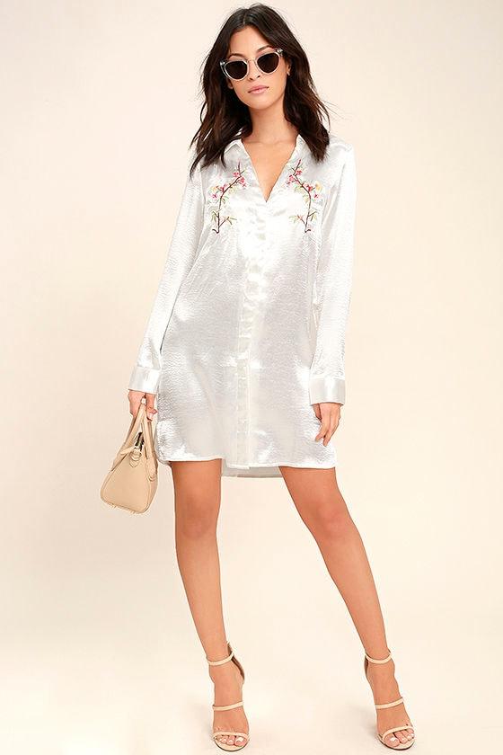 6eeb9f4f532 Sexy White Dress - Satin Dress - Shirt Dress - Embroidered Dress -  57.00