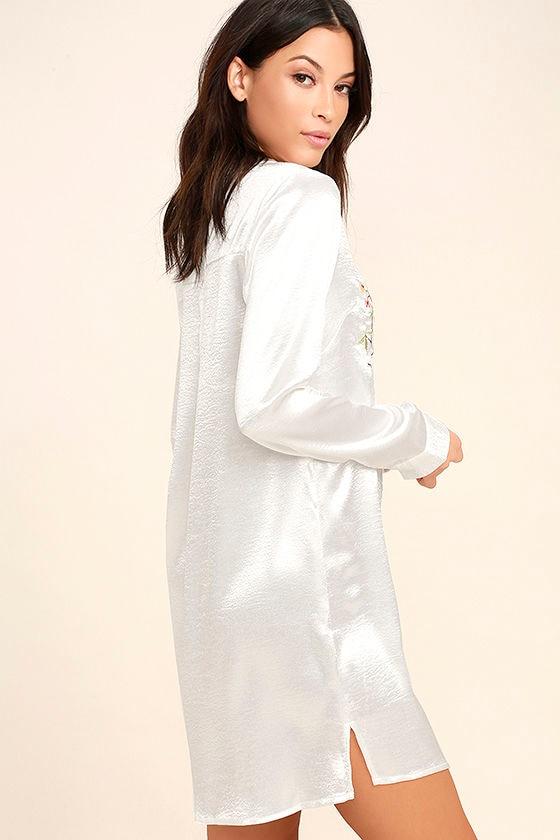 Boudoir Beauty White Satin Embroidered Shirt Dress 3