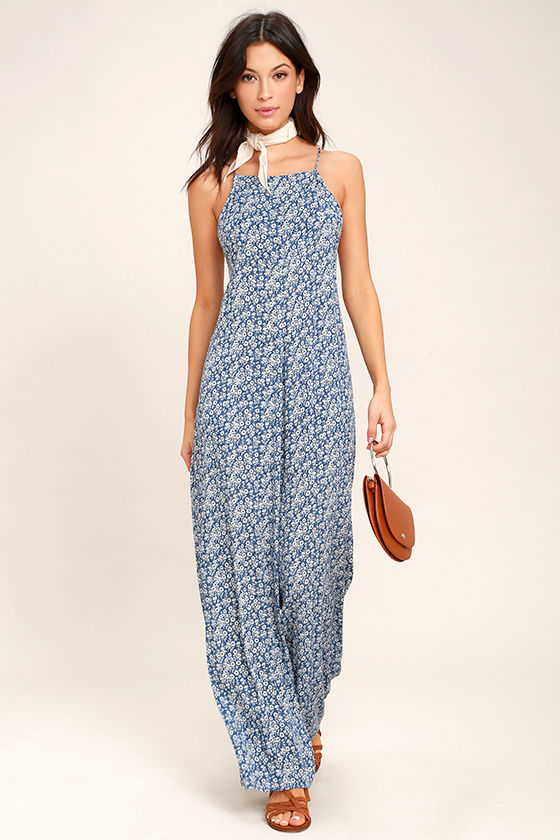 Lucy Love Lucy Blue Floral Print Jumpsuit 1