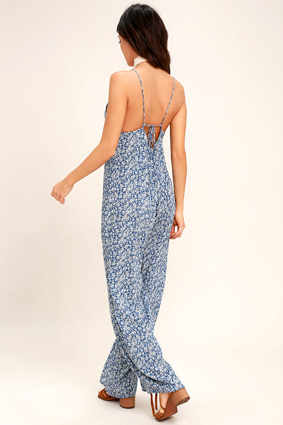 Lucy Love Lucy Blue Floral Print Jumpsuit 3