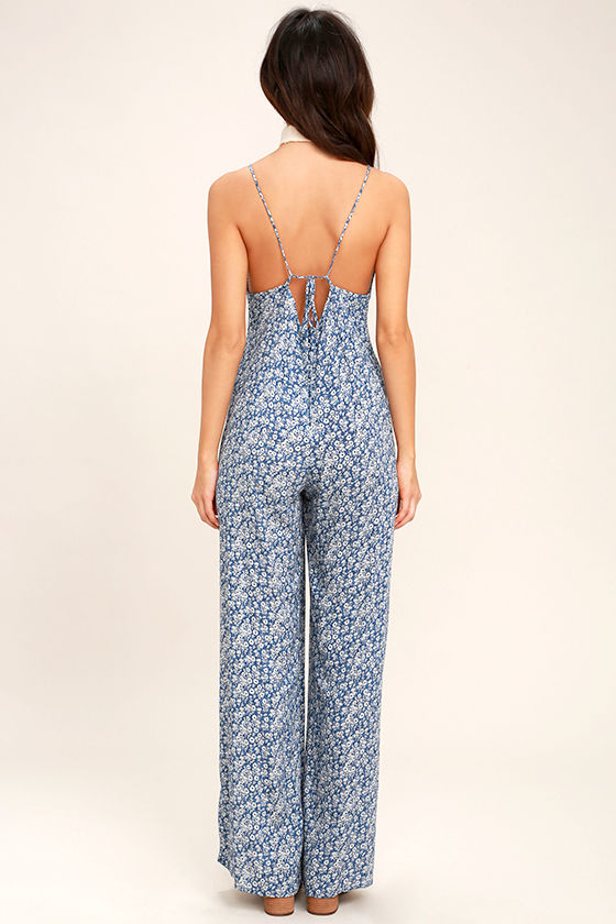 Lucy Love Lucy Blue Floral Print Jumpsuit 4