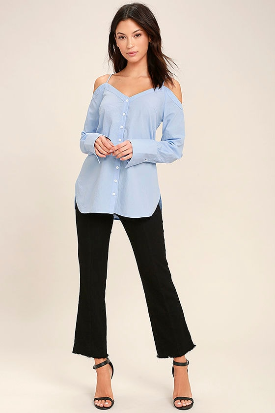 Work From Home Light Blue Button-Up Off-the-Shoulder Top 2