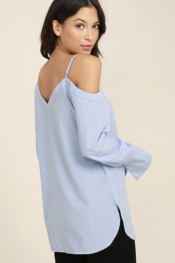Work From Home Light Blue Button-Up Off-the-Shoulder Top 3