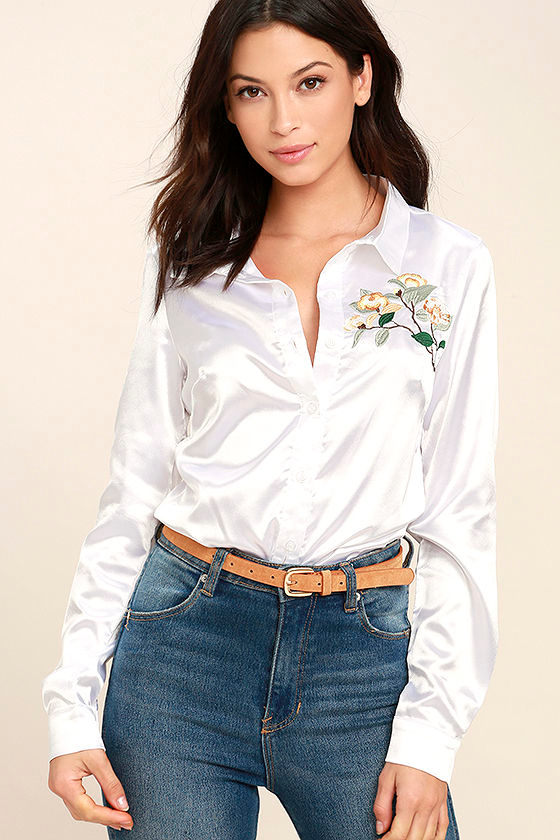 Be At Peace White Embroidered Button-Up Top 1