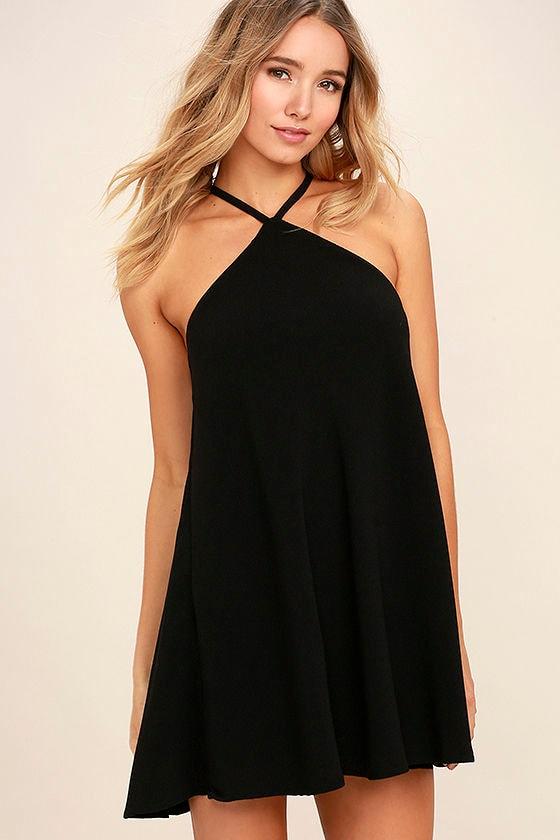 Cool Black Dress - Shift Dress - Halter Dress - $44.00