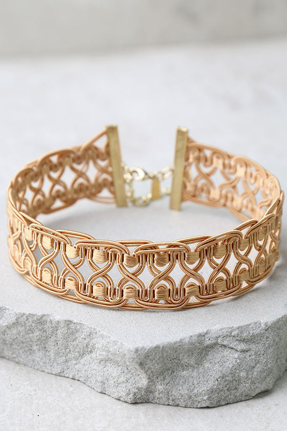 Natalie B Tatjana Terra Cotta Lace Choker Necklace 2