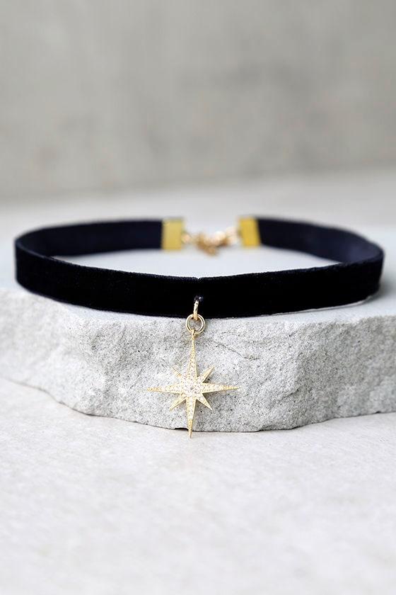 Natalie B Nebula Black and Gold Velvet Choker Necklace 2