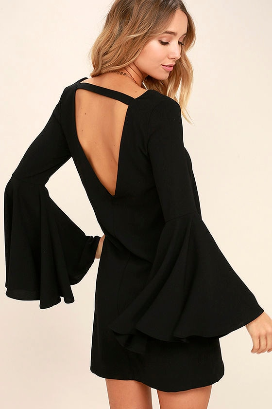 Cute Black Dress Shift Dress Bell Sleeve Dress 54 00