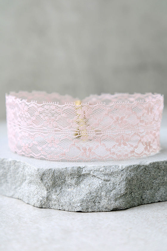 Swoon as Possible Blush Pink Lace Choker Necklace 2
