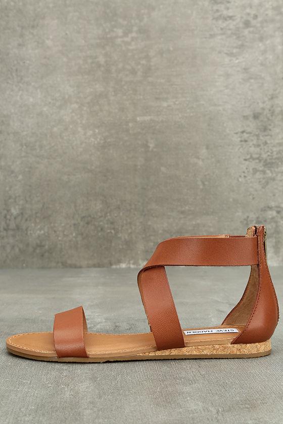 Steve Madden Halley Cognac Leather Sandals 1