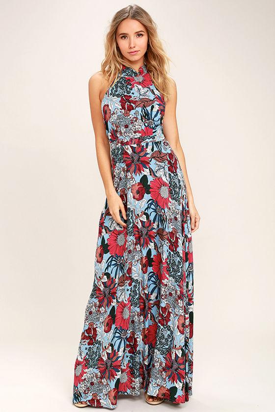 b661fbbd099 Lovely Light Blue Dress - Floral Print Dress - Maxi Dress - $58.00