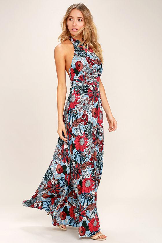 3b71f7208f739 Lovely Light Blue Dress - Floral Print Dress - Maxi Dress - $58.00