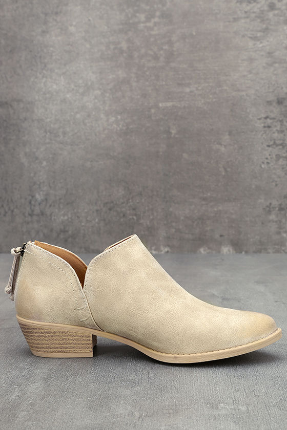 Stands Apart Stone Grey Nubuck Ankle Booties 4
