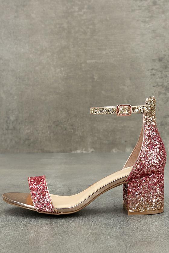 Sorcha Blush Glitter Ankle Strap Heels 1