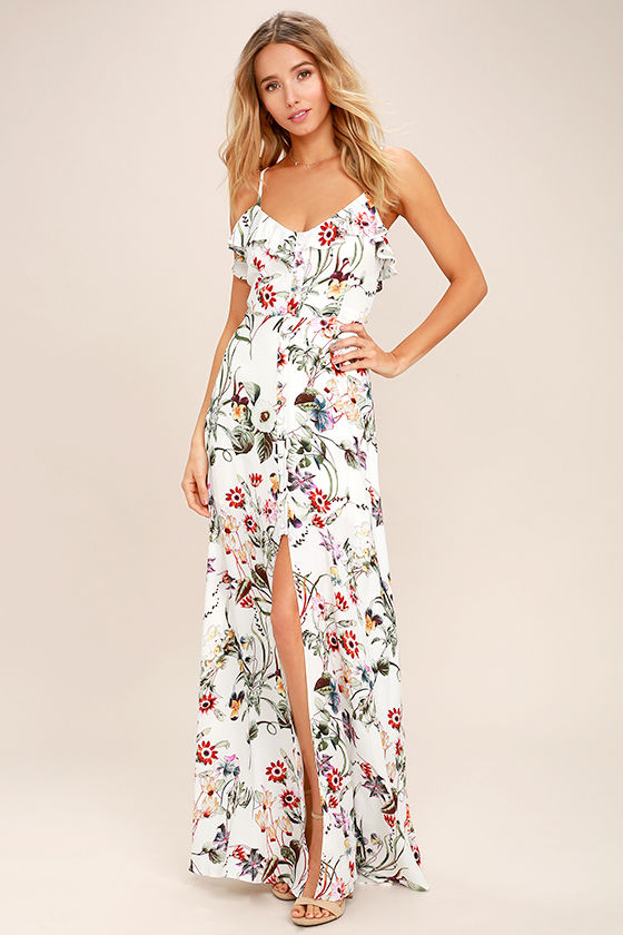 Bloom On Ivory Floral Print Maxi Dress 1
